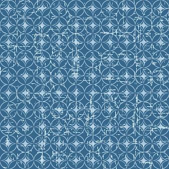 Modello di scala di pesce in stile giapponese blu vintage senza cuciture