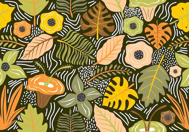 Seamless pattern vintage con fiori decorativi.