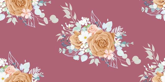 Motivo vintage senza cuciture con motivo floreale per tessuto per abiti estivi