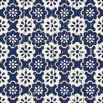 Modello di fiore blu carino consumato vintage senza soluzione di continuità