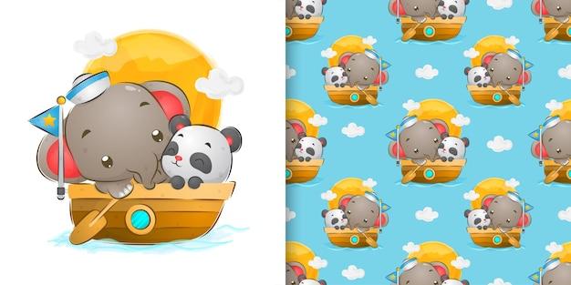 Colore dell'acqua senza giunte dell'elefante del marinaio che naviga con l'illustrazione sveglia del panda
