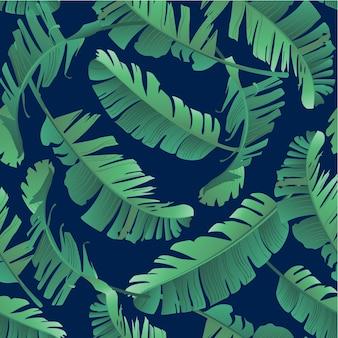 Illustrazione senza cuciture dell'acquerello delle foglie tropicali, giungla