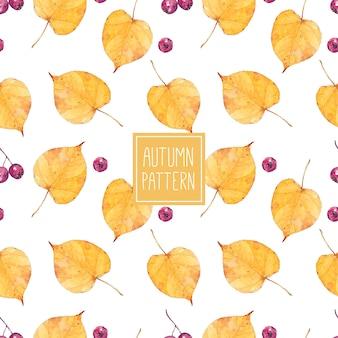 Seamless pattern acquerello con foglie di autunno e bacche