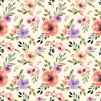 Seamless pattern acquerello con crema pastelli floreali e sfondo giallo