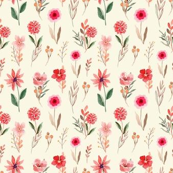 Seamless pattern acquerello con inchiostro rosso e fiori selvatici