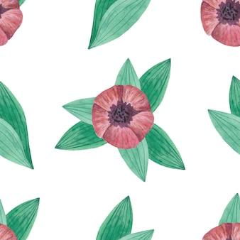Seamless pattern acquerello con tulipani