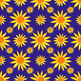 Seamless pattern di girasoli acquerello su sfondo blu