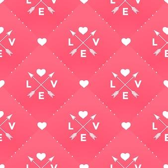 Modello bianco senza cuciture con amore, cuore e freccia in stile vintage su uno sfondo rosso per san valentino. illustrazione.