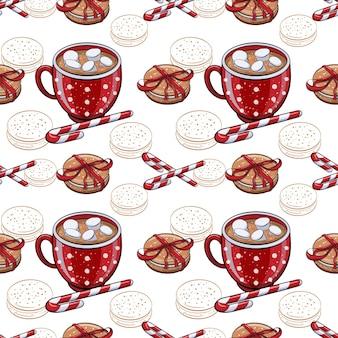 Seamless pattern invernale con bevanda calda di cacao e biscotti
