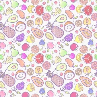Senza soluzione di continuità con vari frutti tropicali su bianco