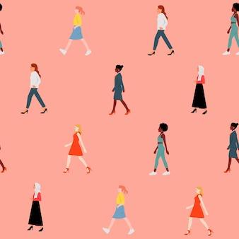 Seamless donna che cammina insieme modello. sfondo della giornata internazionale della donna. piatto
