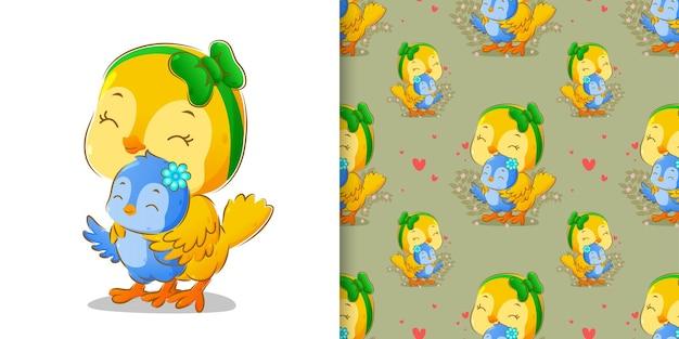 Gli uccelli gialli e blu senza cuciture sono in piedi con una faccia felice dell'illustrazione