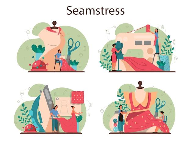 Set di concetto di sarta o sarto. abbigliamento da cucito professionale maestro. sarta che lavora sulla macchina per maglieria, stiratura e misurazioni. professione di atelier creativo.