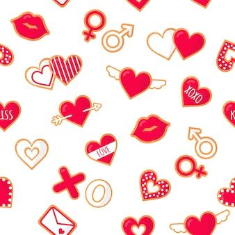 Modello seanless con biscotti di pan di zenzero con scritte amore.