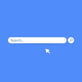 Cerca disegno elemento barra, modello di ui caselle di ricerca isolato su sfondo blu.
