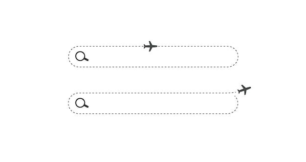 Campo orizzontale della barra di ricerca con lente d'ingrandimento e icone dell'aeroplano semplice pulsante di ricerca piatto