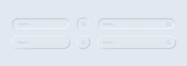 Set di icone della barra di ricerca o finestra del browser in stile neumorfismo