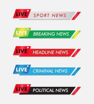 Barra di ricerca barra del punteggio barra delle notizie tv barra del giornale barra del titolo dei media televisivi banner