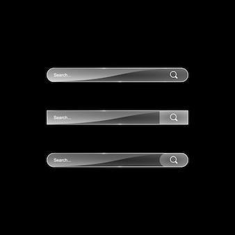Barra di ricerca modello vettoriale ricerca web illustrazione barra di ricerca in vetro trasparente