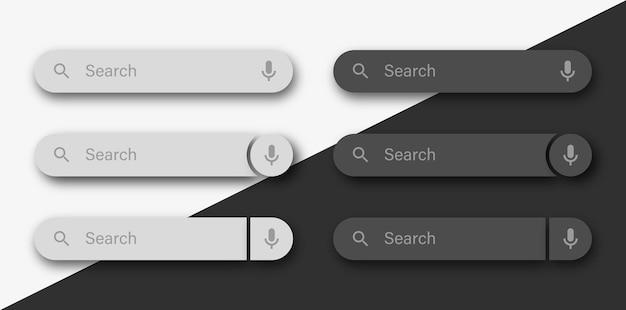 Modello della barra di ricerca con icona vocale o interfaccia utente delle caselle di ricerca con ombra