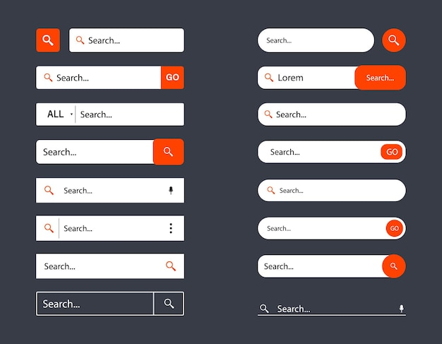 Set di modelli di barra di ricerca per l'interfaccia utente, il design e il sito web. cerca indirizzo e icona della barra di navigazione. raccolta di modelli di moduli della barra di ricerca www per siti web, app, interfaccia utente