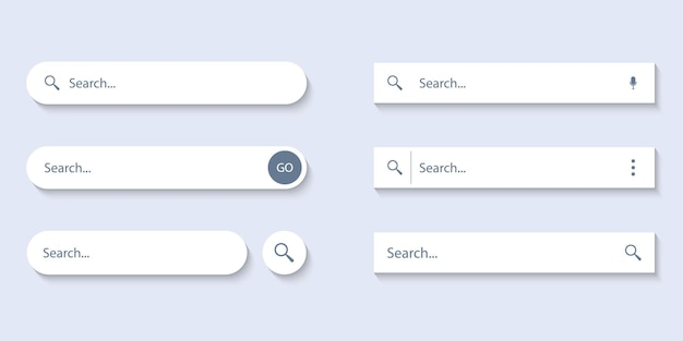 Barra di ricerca per interfaccia utente, design e sito web. cerca indirizzo e icona della barra di navigazione. raccolta di modelli di moduli di ricerca per siti web