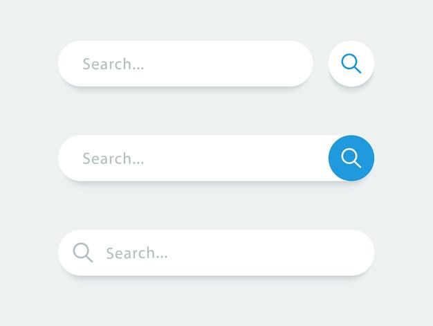 Barra di ricerca per l'interfaccia utente e il sito web raccolta caselle di ricerca elemento vettoriale design