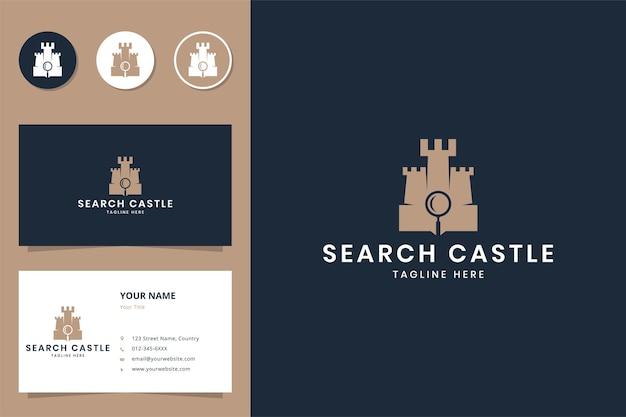 Cerca il design del logo dello spazio negativo del castello