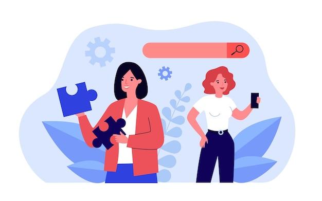 Illustrazione piana di vettore di analisi dei motori di ricerca. donne del fumetto alla ricerca di informazioni su internet, alla ricerca di algoritmi web. internet, ricerca, concetto di tecnologia dell'informazione per il design di banner
