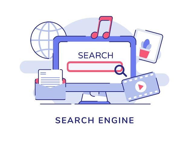 Concetto di motore di ricerca con schermo del computer e oggetti correlati