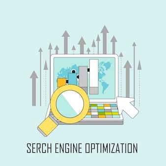 Concetto di ottimizzazione dei motori di ricerca in stile linea