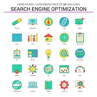 Set di icone di linea piatta seo ottimizzazione dei motori di ricerca