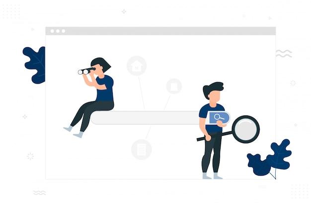 Motore di ricerca . persone con lente d'ingrandimento e binocolo.