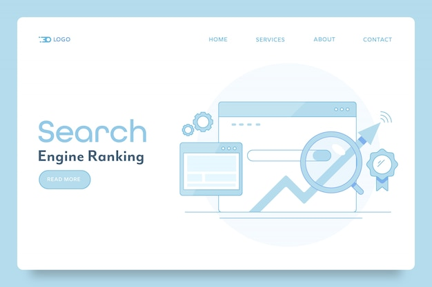 Banner concettuale di posizionamento nei motori di ricerca