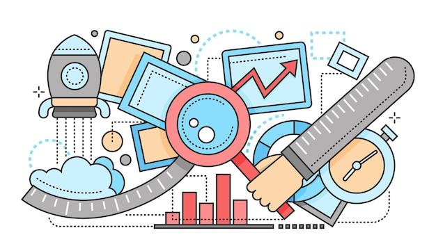 Ottimizzazione della ricerca - illustrazione vettoriale moderno design piatto con mano con lente d'ingrandimento, grafici, orologio, razzo