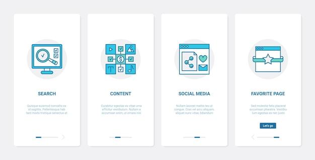 Ottimizzazione della ricerca di contenuti web, tecnologia di marketing digitale. ux, ui onboarding app mobile imposta processo di ricerca nei social media, pagina web preferita