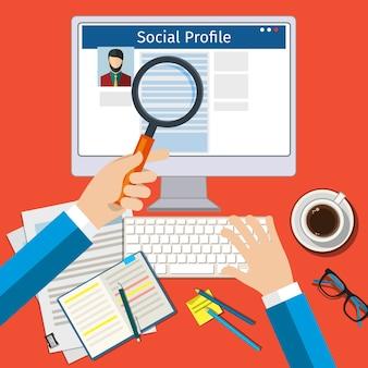 Cerca profilo social. schermo con social network. design piatto