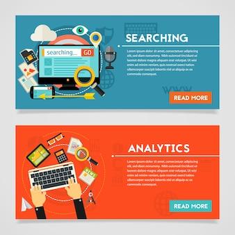 Banner di concetto di ricerca e analisi