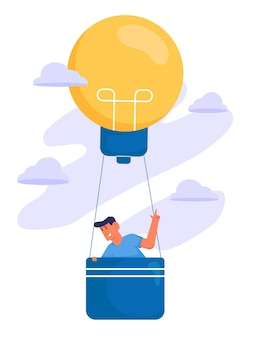 Alla ricerca di ispirazione con l'uomo in mongolfiera dalla lampadina