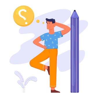 Alla ricerca di ispirazione con l'uomo pensa su una grande matita e domanda