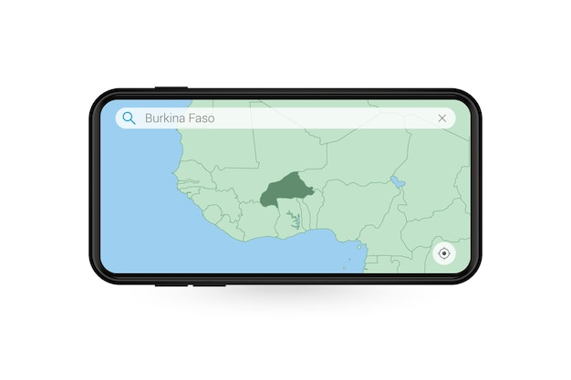Ricerca mappa del burkina faso nell'applicazione mappe per smartphone. mappa del burkina faso nel telefono cellulare.