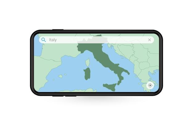 Ricerca della mappa dell'italia nell'applicazione mappe per smartphone. mappa dell'italia nel telefono cellulare.
