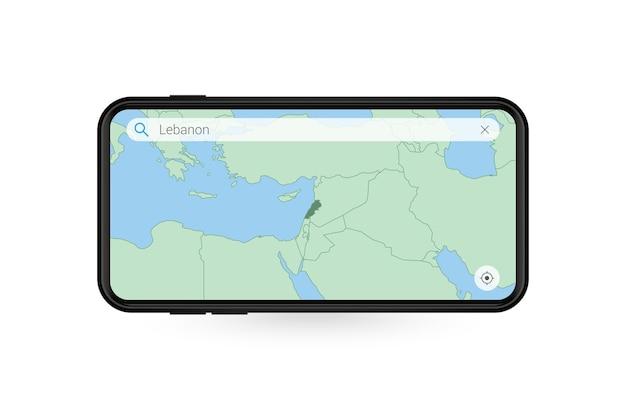 Ricerca mappa del libano nell'applicazione mappa per smartphone. mappa del libano nel telefono cellulare.