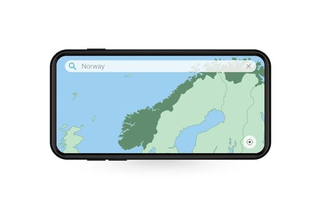 Ricerca della mappa della norvegia nell'applicazione mappa per smartphone mappa della norvegia nel telefono cellulare