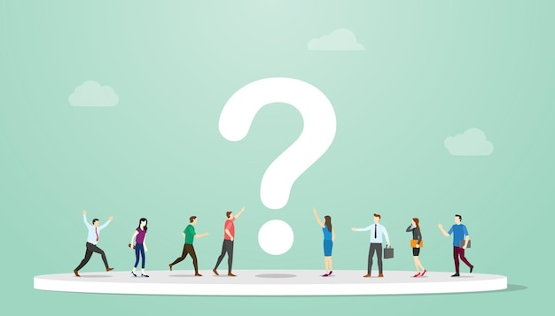 Ricerca o ricerca di risposte concetto con persone e punto interrogativo