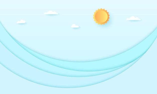 Vista sul mare, cielo nuvoloso con sole e mare luminosi, onde dell'oceano, stile di arte della carta