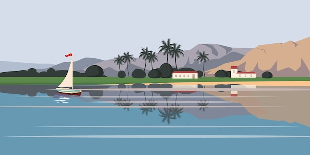 Vista sul mare, barca a vela, palme, illustrazione, stile del fumetto, isolato