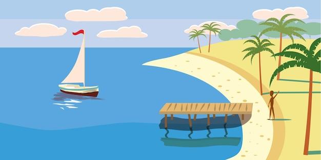 Spiaggia tropicale dell'oceano delle palme della barca a vela di vista sul mare