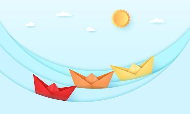 Paesaggio marino, mare con barca origami e con sole e cielo luminosi, onde dell'oceano, stile arte della carta