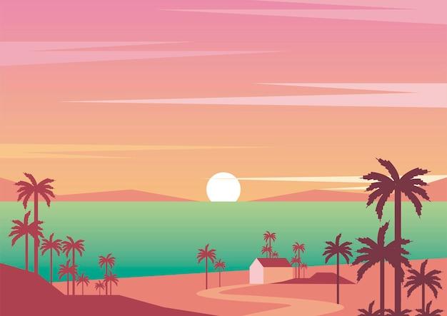 Seascape tramonto aventure viaggio paesaggio scena illustrazione vettoriale design